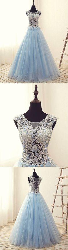 Unique round neck tulle lace long prom dress, evening dress