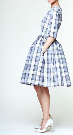 Sweet boat-neck, full skirt, blue and white tartan dress