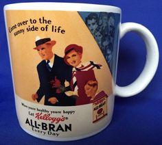 Vintage 1984 Kelloggs All Bran Coffee Mug Come Over To The Sunny Side Of Life…