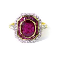 - Belle epoque ruby and diamond cluster ring by Mellerio, Paris, c.1900,