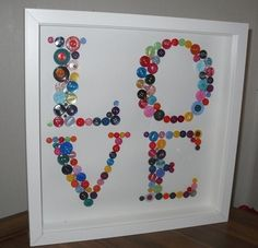 Button crafts. This would be a fun idea for decorating the sewing room.