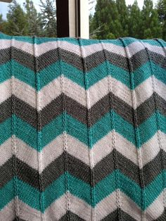Stash Busting knitting patterns: Chevron Blanket by Karin Michel, download on LoveKnitting