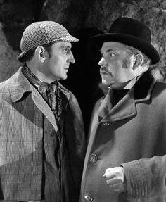 Sherlock Holmes (Basil Rathbone) and Dr. Watson (Nigel Bruce)