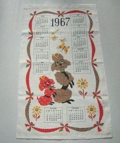 Vintage 1967 Calendar Towel Adorable Poodles by unclebunkstrunk, $29.99