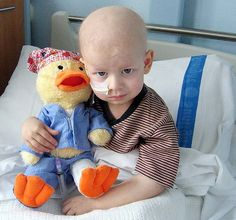 A stuffed animal duck used to help young cancer patients cope with their treatment