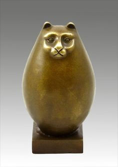 This remarkable Modern Art animal bronze of a funny fat cat was made by the famous Colombian sculptor Fernando Botero.