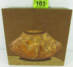 "Lot 103 in the 11.19.13 online & live auction! Gorgeous vintage Southwest Native American Indian sand painting / dry painting. Made out of natural coloring sand; this intricate painting features a 3D bas-relief still-life pottery jug / olla adorned with genuine turquoise stones. Created on a wooden board, it is in good condition with no chips or major damage. Artist signed on the right edge ""Philonese, Copyright 1984"". #Home #Décor #POGAuctions"