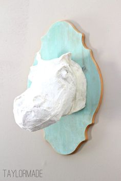 Love this Hippo by @taylormadehome: Color Washing and A Paper Mache Hippo Head using Paper Mache tutorial via lilblueboo.com