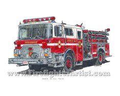 Fire Truck Drawings   FirefighterArtist.com: Original Firefighter Artwork by Ernie Young