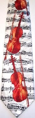 VIOLINS ON A WHITE BACKGROUND TIE