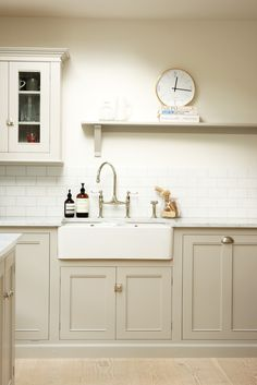 We love the 'Pavillion Grey' colour on the cupboards of deVOL's new Clapham Kitchen.
