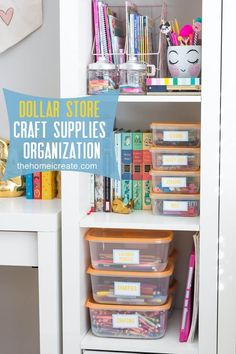 Organize all your kids craft supplies with Dollar Store containers for an affordable way to make sure markers and crayons won't get lost as easily! Kids Craft Supplies, Art Supplies Storage, Arts And Crafts Supplies, Crafts For Kids, Organizing Art Supplies, Storage Ideas, Organising, Storage Hacks, Kitchen Supplies