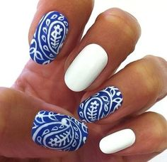 Cute blue and white paisley nails