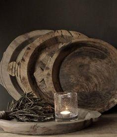 Oude houten Nepalese schaal/bord