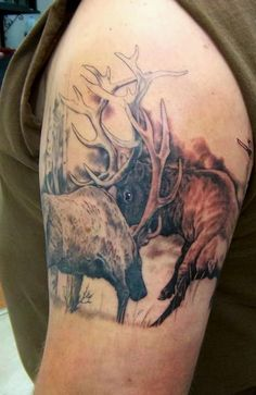 Elk Fighting By Holy Roller Tattoo- husbands tattoo ideas