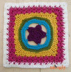 Granny's Shining Star Square by Beatrice Ryan Designs. Block #13 for the 2015 Moogly Afghan CAL! All blocks in the CAL are free!