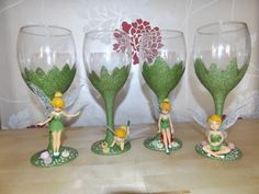 Set of 4 Tinkerbell wine glass fairy party by DesignedByDeeUK