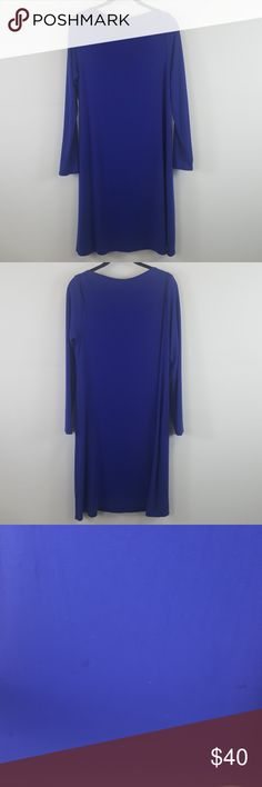 "Eileen Fisher blue shift dress size medium Eileen Fisher blue boat neck shift dress. Few spots on front as seen on picture.  Size-Medium Bust-37"" Waist-40"" Length-35"" Eileen Fisher Dresses Midi"