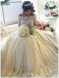 OFF SHOULER LONG SLEEVE FULL LACE WEDDING DRESS, BRIDAL GOWN