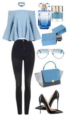 """Без названия #946"" by berlinmoskva ❤ liked on Polyvore featuring Topshop, Elie Saab, Ray-Ban, Christian Louboutin and CÉLINE"