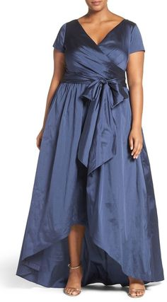 Adrianna Papell Shirred Taffeta High/Low Gown
