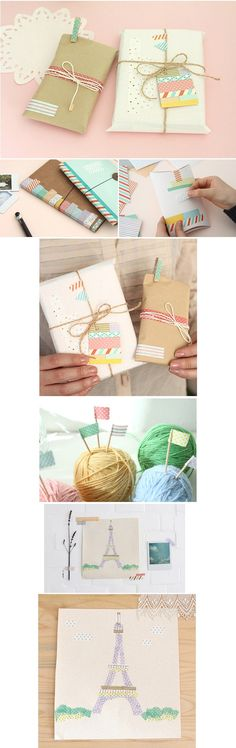 Masking tape wrapping ideas. #gift #wrapping #cute #pastel #tape #washi #packaging #cards #crafts