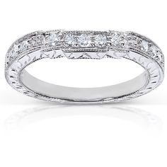 Annello 14k White Gold 1/4ct TDW Diamond Curved Wedding Band ($444) ❤ liked on Polyvore featuring jewelry, rings, white, 14k ring, round diamond ring, wide band wedding rings, diamond band ring and white gold band ring