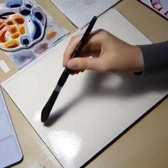Watercolor Paintings For Beginners, Watercolor Video, Watercolour Tutorials, Painting Videos, Watercolor Techniques, Watercolor Landscape Tutorial, Watercolour Painting Easy, Watercolor Flowers, Space Watercolor