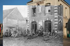 German soldiers resting on the steps of the Town hall of Vareddes in France in during the first battle of the Marne in 1914 overlaid on a March 12, 2014 photo of the same building. (First photo by Peter Macdiarmid/Getty Images. Second photo by The Print Collector/Print Collector/Getty Images)