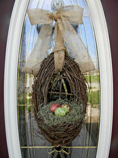 "Spring Wreath Easter Wreath Grapevine Door Wreath Basket Decor...""Farmhouse Eggs""."