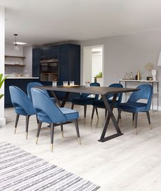 Midnight Blue Velvet Dining Chairs sit perfectly against the dark oak dining table in dark blue kitchens. Blue Velvet Dining Chairs, Oak Dining Table, Dining Table Chairs, Dining Furniture, Luxury Furniture, Side Chairs, Dining Area, Home Design, Contemporary Dining Sets