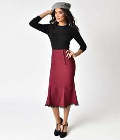 1940s Clothing 1940s Style Wine Red High Waist Button Trumpet Skirt $70.00 AT vintagedancer.com