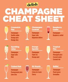 Genius Hacks That Will Change How You Eat Breakfast Make yourself a freaking delicious brunch beverage on the weekends with this champagne cheat sheet.Make yourself a freaking delicious brunch beverage on the weekends with this champagne cheat sheet. Party Drinks, Fun Drinks, Yummy Drinks, Alcoholic Drinks, Beverages, Brunch Drinks, Wine Parties, Holiday Drinks, Good Bar Drinks