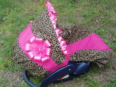 Cheetah purple or Hot pink baby car seat cover infant seat cover slip cover Graco fit leopard boy girl Rose flower