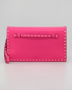 V1D3N Valentino Rockstud Flap Clutch Bag, Pop Fuchsia