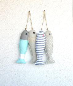 4 Fabric stuffed fish ornaments, summer house décor, nautical, cute,. $41.00, via Etsy.