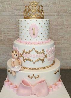 Birthday cake for girls Torta Princess, Rodjendanske Torte, Crown Cake, Quinceanera Cakes, Baby Girl Cakes, 1st Birthday Cakes, Baby Shower Princess, Baby Shower Cakes, Cake Art