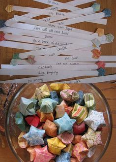Each origami star holds a message inside. More