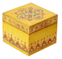 Bulk Wholesale Handmade Square Mango-Wood Jewelry Box in Bright Yellow Colo. - Bulk Wholesale Handmade Square Mango-Wood Jewelry Box in Bright Yellow Color Decorated with Co - Painted Wooden Boxes, Wood Boxes, Hand Painted, Painted Trays, Handmade Jewelry Box, Wooden Jewelry Boxes, Handmade Ideas, Clean Gold Jewelry, Woodworking Box