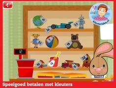 Betalen oefenen met hoogbegaafde kleuters op digibord of computer op kleuteridee, Kindergarten math for IBW or computer School Computers, I Love School, Ipad, Organization Hacks, Preschool Activities, Toy Chest, Kids, Euro, Blue Prints