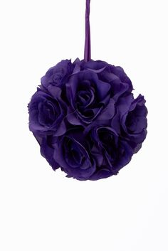 "Flower Ball - Silk Rose - Pomander Kissing Ball 6"" - Purple"