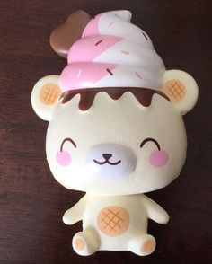 *Exclusive!* Yummiibear the icecream Squishy Closed Eyes ~ Creamiicandy collab with Puni Maru