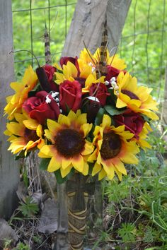 Sunflower Wedding Bouquet Rustic Country Southern Chic Sunflower Bride Bouquet Rose Cattail Feathers Burlap Broach Red Yellow Boutonniere