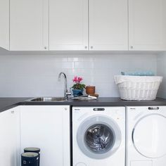 Transitional Utility Room by Horton & Co. Designers | Smelly Laundry? | Washer Odor? | http://WasherFan.com | Permanently Eliminate or Prevent Washer & Laundry Odor with Washer Fan™ Breeze™ | #Laundry #WasherOdor  #SWS