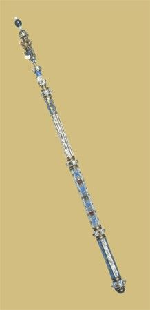 Scepter belonging to Tsar Peter Alekseevich, last quarter of the 17th century, possibly from the Moscow Kremlin Workshops.  Made of gold, precious stones, pearls; casting, chasing, carving, filigree, seeds of gold, enamels.  Length: 71,0 cm; and Diameter: 2,4 cm.