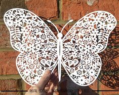 Butterfly paper cut svg / dxf / eps files and pdf / png printable templates for hand cutting. Digital download. Small commercial use ok.
