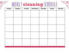 Print off this free weekly cleaning schedule