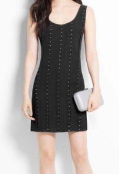 ANN TAYLOR BEJEWELED PLEAT DRESS - BLACK - SIZE 0