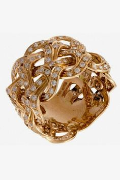 Versace rose gold and diamond ring