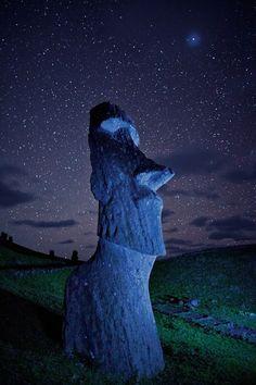 Easter Island Statue & Stars